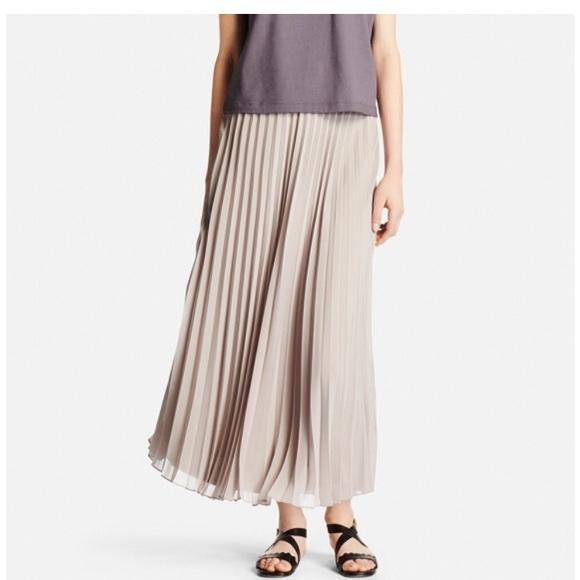 a9e273a9c0 Uniqlo Skirts | Taupe Chiffon Pleated Maxi Skirt Large | Poshmark